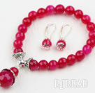 Classic Design Faceted Round Rose Red Agate Beaded Bracelet with Matched Earrings