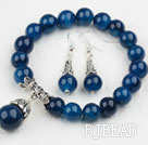 Classic Design Round Blue Agate Beaded Bracelet with Matched Earrings
