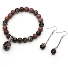 Classic Design Round Rhodochrosite Beaded Bracelet with Matched Earrings