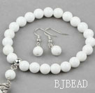 Classic Design Round White Porcelain Stone Beaded Bracelet with Matched Earrings