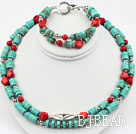 Two Strands Turquoise and Red Coral Set ( Necklace and Matched Bracelet )