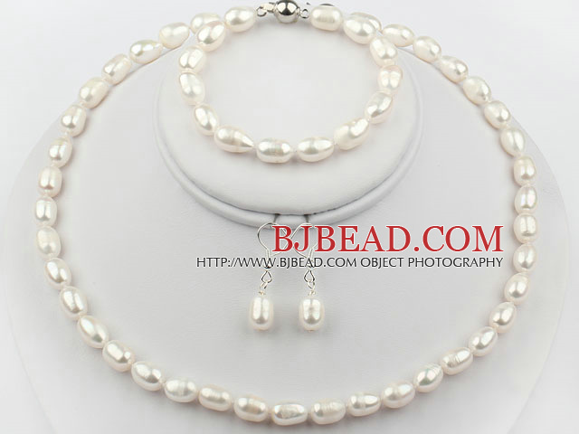 8-9mm White Color Rice Freshwater Pearl Set ( Necklace Bracelet and Matched Earrings )