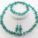 Green Crystal Set ( Necklace Bracelet and Matched Earrings )
