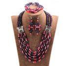 Glamorous 5 Layers Purple Red Crystal Beads African Wedding Jewelry Set With Butterfly Accessory (Necklace With Mathced Bracelet And Earrings)
