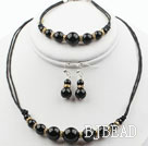 Round Black Agate Set ( Necklace Bracelet and Matched Earrings )