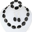 white pearl and line patterned black agate set under $14