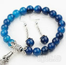 Classic Design Blue Agate Set ( Beaded Bracelet and Matched Earrings )