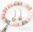 Classic Design Pink Opal Set ( Beaded Bracelet and Matched Earrings )