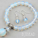Classic Design Opal Set ( Beaded Bracelet and Matched Earrings )
