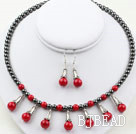 Assorted Hematite Stone and Red Coral Set ( Necklace and Matched Earrings )