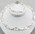 Coin Pearl and Clear Crystal Set ( Necklace and Matched Bracelet )