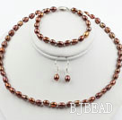 5-6mm Brown Freshwater Pearl Set ( Beaded Necklace, Bracelet and Matchd Earrings )