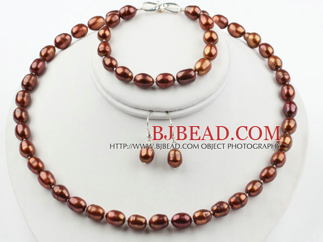 9-10mm Brown Rise Shape Freshwater Pearl Set ( Beaded Necklace Bracelet and Matched Earrings )