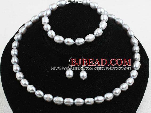 eb6f9abd9fd4 9-10mm gris Juego de perlas de agua dulce (pulsera de cuentas de collar y  pendientes ...