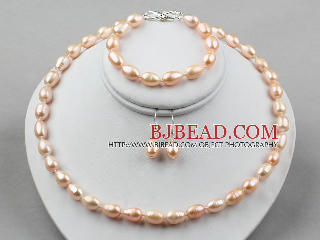 9-10mm Natural Pink Long Style Rice Freshwater Pearl Set ( Beaded Necklace Bracelet and Matched Earrings )