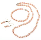 5*6mm Natural Pink Rice Freshwater Pearl Set ( Beaded Necklace Bracelet and Matched Earrings )