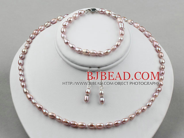 3-4mm Natural Purple Rice Freshwater Pearl Set ( Beaded Necklace Bracelet and Matched Earrings )