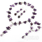 6-14mm natual amethyst necklace bracelet earring set