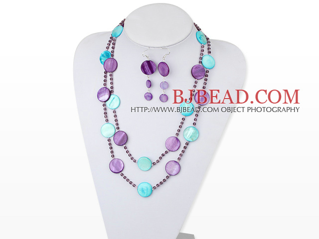 47 inches dyed crystal and shell necklace with matched earrings