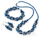 blue manmade crystal necklace bracelet earring set