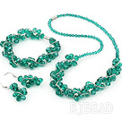 fashion green crystal set(necklace, bracelet, earrings) with magnetic clasp