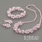 pink crystal set(necklace, bracelet and earrings) with magnetic clasp under $12
