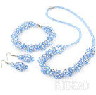 fashion blue crystal set(necklace, bracelet, earrings) with magnetic clasp