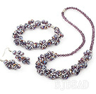 fashion purple crystal set(necklace, bracelet, earrings) with magnetic clasp