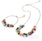 seven colored pearl necklace with matched bracelet