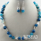 Faceted Brazil Blue Stripe Agate Set ( Necklace and Matched Earrings )