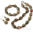 flower and grass stone necklace bracelet earring set