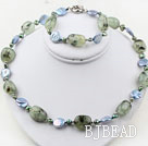 Blå Coin Pearl og Green Rutilated Quartz Set (halskæde og Matched Armbånd)