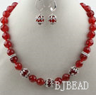 Classic Design Faceted Red Carnelian Set ( Necklace and Matched Earrings )