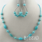 Turquoise and Glass Beads Set ( Necklace and Matched Earrings )