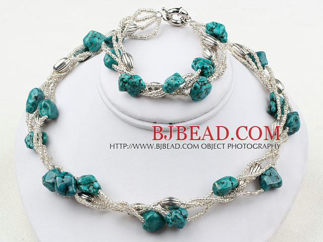 Nut Shape Turquoise and Glass Beads Set ( Necklace and Matched Bracelet )