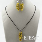 Simple Style Branch Shape Yellow Devil Coral Set ( Pendant Necklace and Matched Earrings )