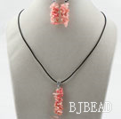 Simple Style Branch Shape Pink Devil Coral Set ( Pendant Necklace and Matched Earrings )
