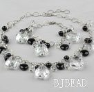 Clear Crystal and Black Agate Set ( Necklace Bracelet and Matched Earrings )