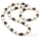 9-10mm black and white pearl necklace with matched braclet