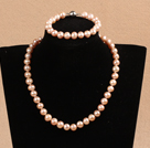 Graceful Hot Sale 9-10mm Natural Smooth Pink Pearl Jewelry Set (Necklace & Bracelet)