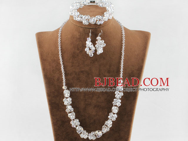 fashion white crystal set necklace, bracelet, earrings) with magnetic clasp