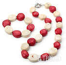 18*20mm white and red coral necklace bracelet set