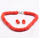 Popular Style Disc Shape Red Coral Jewelry Set (Necklace with Matched Earrings)