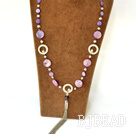 27.5 inches white pearl and dyed purple shell long style necklace