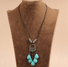 New Arrival Simple Style Tibet Silver Flower Pendant Necklace with Brown Leather and Flower Clasp