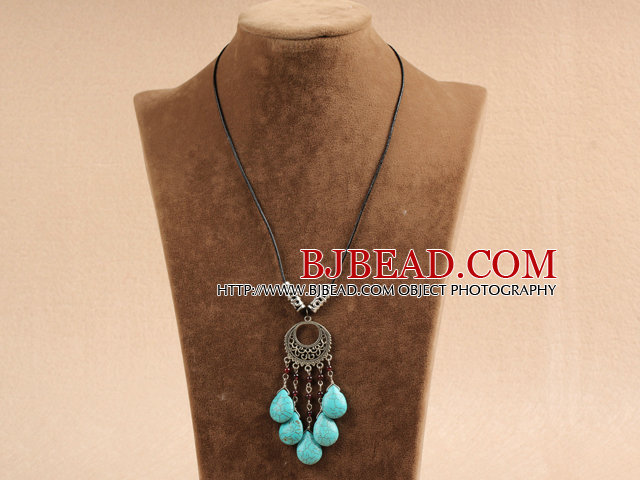 Simple Vintage Style Chandelier Shape Garnet Tear Drop Turquoise Tassel Pendant Necklace With Black Leather