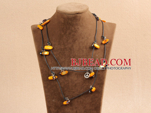 Fashion Long Style Orange Series Natural Pearl Stone Chips Necklace With Black Leather (Sweater Chain)