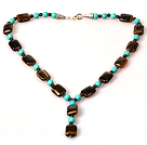 Tiger Eye and Turquoise and Garnet Y Shape Necklace