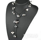 beautiful 47 inches black and white pearl necklace