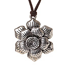 New Arrival Simple Style Tibet Silver Flower Pendant Necklace with Brown Soft Leather